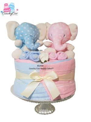 Mini twin boy girl elephants nappy cake