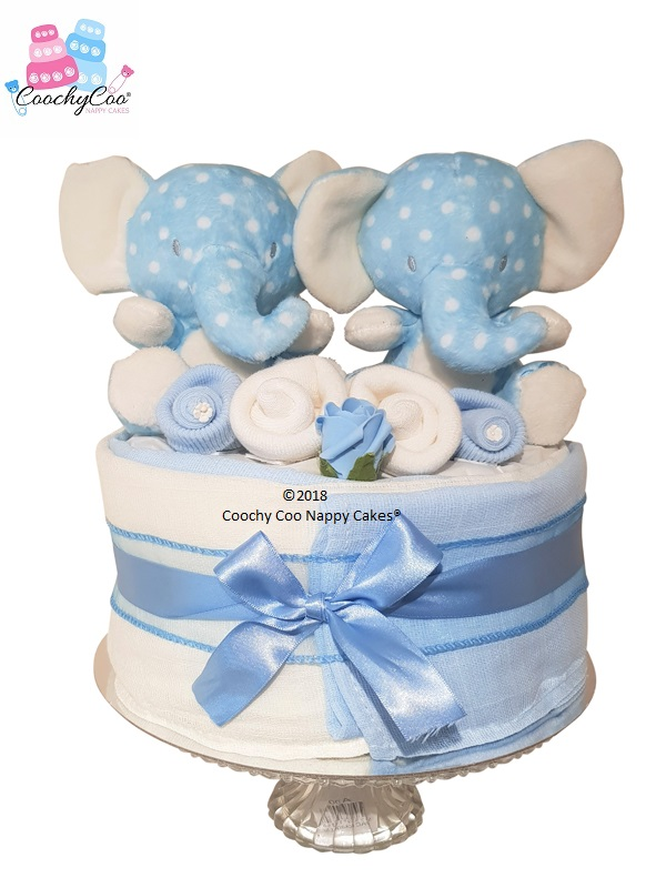 Twin Baby Boy Elephant Mini Nappy Cake