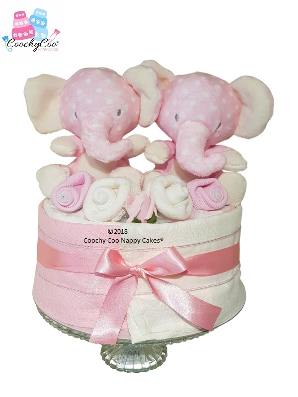 Twins baby girl gift - Mini Nappy Cake