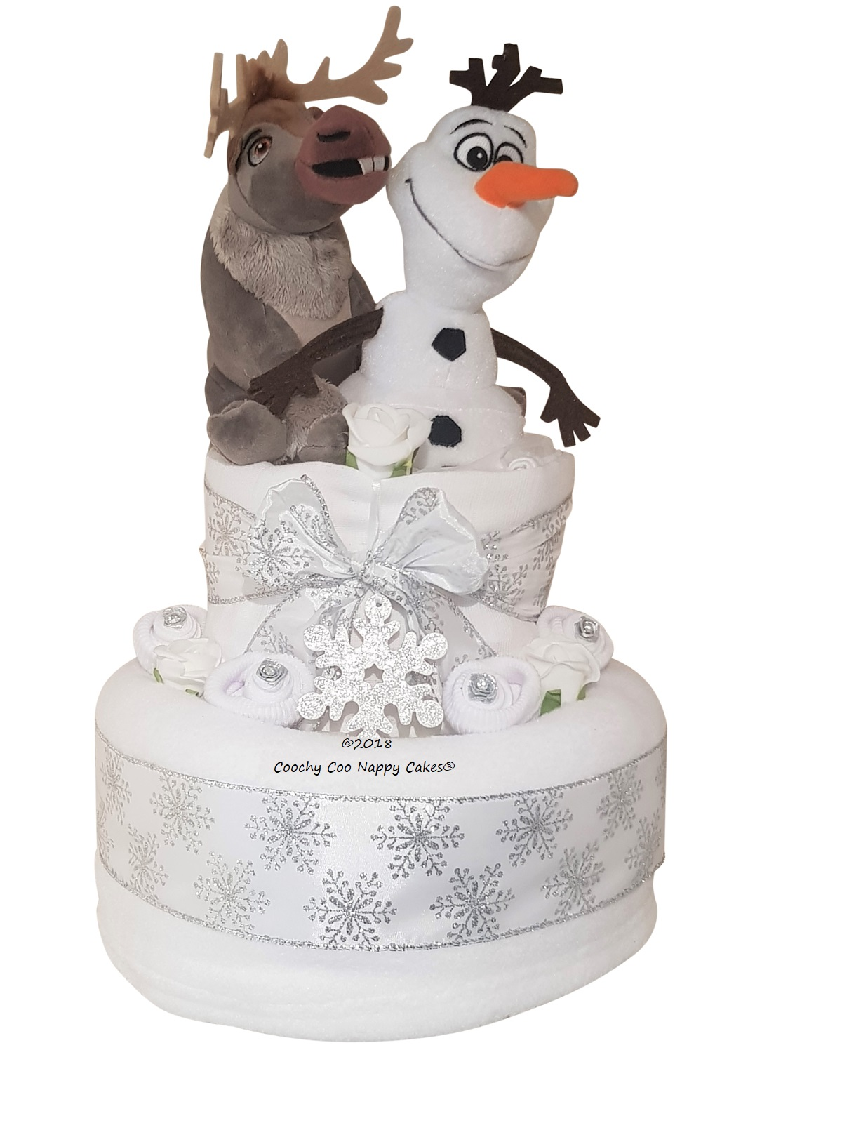 Snowman and reindeer baby Nappy Cake