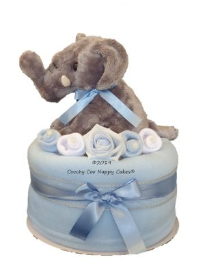 Boys Blue Elephant Nappy Cake Baby Hamper