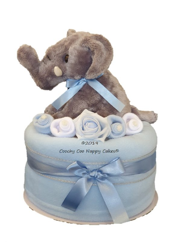 Boys Blue Elephant Nappy Cake