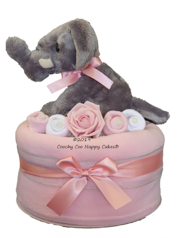 Pink Girls Elephant nappy cake